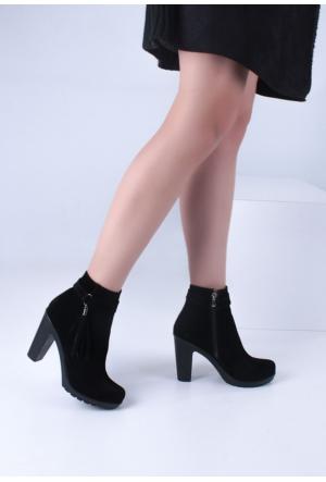 Erbilden Gök Siyah Süet Püsküllü Fermuarlı Kadın Topuklu Bot