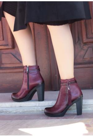 Erbilden Gök Bordo Cilt Püsküllü Fermuarlı Kadın Topuklu Bot