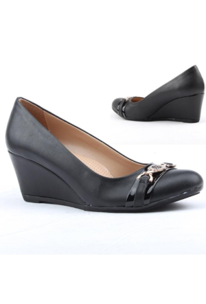 Nazar 2501-3 Büyük Numara Bayan Ayakkabı Günlük Dolgu Topuk 6 cm