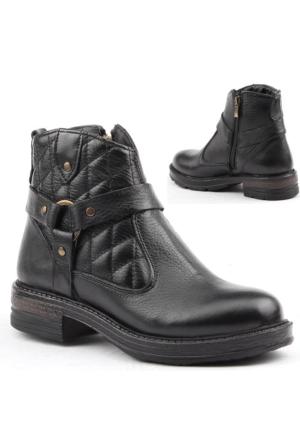 Jump 14636-A %100 Deri Bayan Bot Ayakkabı Kışlık Günlük