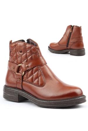 Jump 14636-B %100 Deri Bayan Bot Ayakkabı Kışlık Günlük