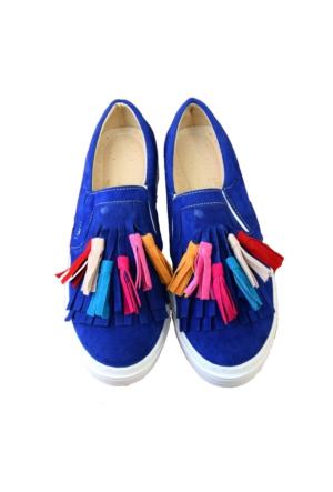 P.O.L.U Bayan Püsküllü Ayakkabı Sneakers Günlük