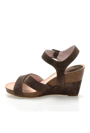 Logan 2702 Velour Volt Kadın Sandalet Kahverengi