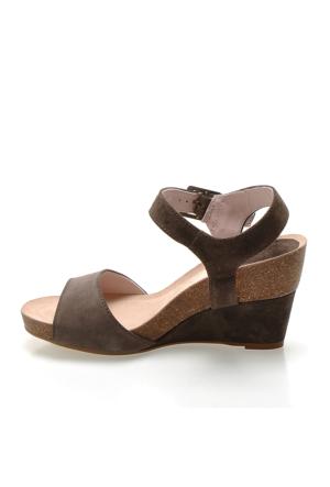 Logan 2703 Velour Kadın Sandalet Kahverengi