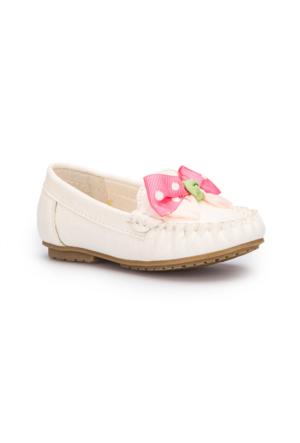 Pink Step Punto Beyaz Kız Çocuk Babet