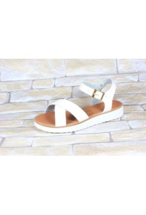By Puix 254-1100 Beyaz Bayan Sandalet
