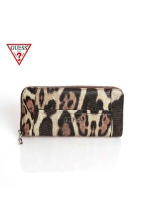 Guess Swle45 35460 Delaney Slg Large Zip Around Leopard Cüzdan