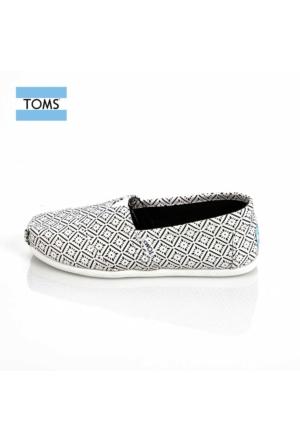 Toms 10008032 White Black Vintage Tile Wm Alpr Esp Ayakkabı