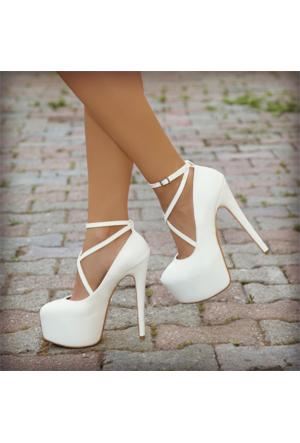 SotheVD-8011Kadın Çapraz Şeritli Platform Topuklu Ayakkabı