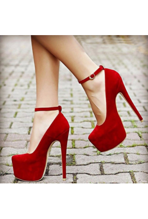 SotheVD-8012Kadın Bilekten Şeritli Platform Topuklu Ayakkabı