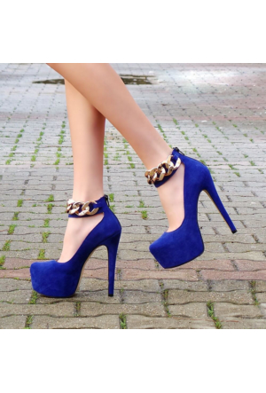 SotheVD-8015Kadın Zincir Bantlı Platform Topuklu Ayakkabı