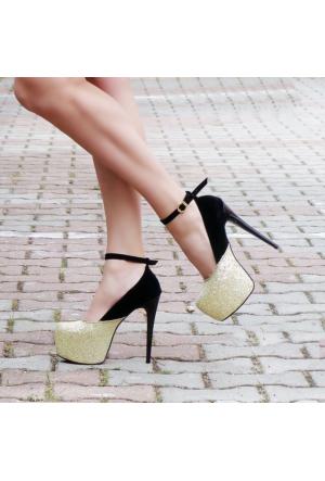 SotheVD-8020Kadın Bilekten Şeritli Platform Topuklu Ayakkabı