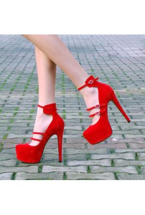 SotheVD-8048Kadın Kemer Şeritli Platform Topuklu Ayakkabı