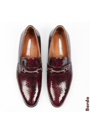 Bordo Rugan Yılan Deri Desenli Tokalı Erkek Ayakkabı 1602036-016 Deepsea