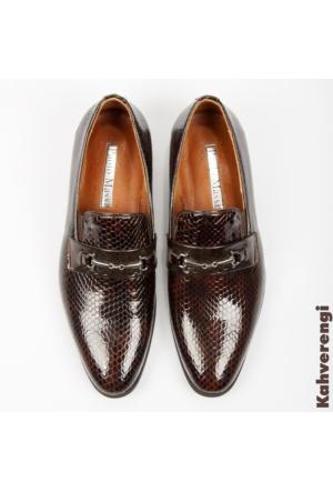 Kahve Rugan Yılan Deri Desenli Tokalı Erkek Ayakkabı 1602036-007 Deepsea
