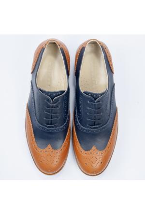Deepsea Lacivert-Taba Deri Kalın Tabanlı Çift Renkli Bağcıklı Erkek Ayakkabı 1602026-136