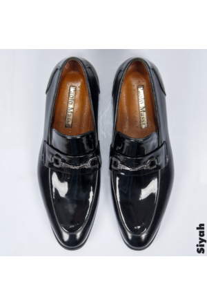 Siyah Rugan Neolit Taban Demir Tokalı Erkek Ayakkabı 1602024-002 Deepsea