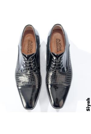 Siyah Rugan Lazer İşlemeli Bağcıklı Erkek Ayakkabı 1602020-002 Deepsea