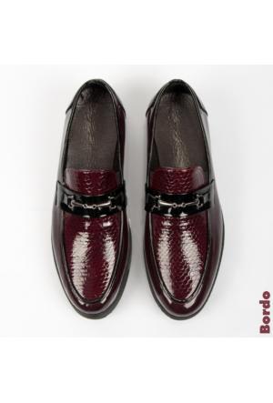 Bordo Rugan Yüksek Taban Yılan Desenli Erkek Ayakkabı 1602017-016 Deepsea