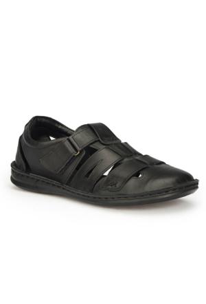 Polaris 71.156851.M Siyah Erkek Deri Sandalet
