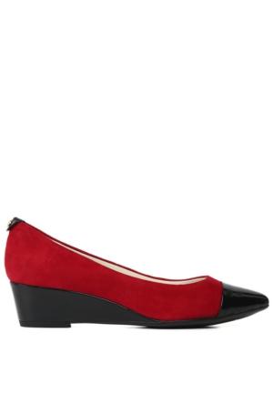 Anne Klein Akvalicity Kırmızı Gerçek Süet Dolgu Topuklu Ayakkabı