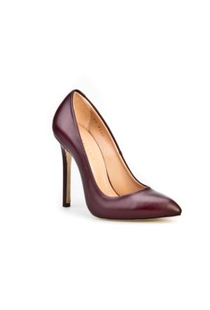 Cabani Yüksek Topuklu Stiletto Klasik Kadın Ayakkabı Bordo Analin Deri