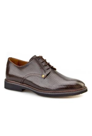 Lazerli Günlük Erkek Ayakkabı Kahverengi Rugan Cabani