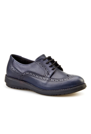 Cabani Bağcıklı Günlük Kadın Ayakkabı Lacivert Deri