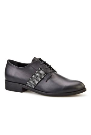 Cabani Simli Bağcıklı Günlük Kadın Ayakkabı Siyah Analin Deri