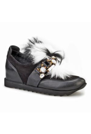 Cabani Tüylü Günlük Kadın Ayakkabı Siyah Süet