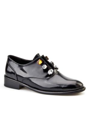 Cabani Taş Süslemeli Günlük Kadın Ayakkabı Siyah Açma Deri