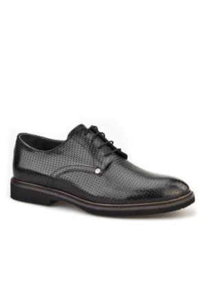 Lazerli Günlük Erkek Ayakkabı Siyah Rugan Cabani