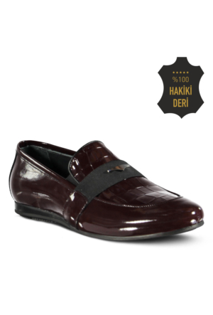 Marjin Sande Düz Erkek Ayakkabı Bordo Rugan