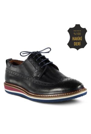 Marjin Laven Düz Deri Erkek Ayakkabı Lacivert
