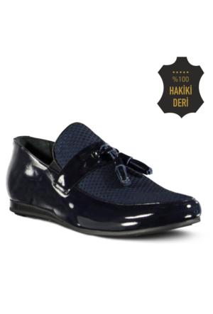 Marjin Esba Düz Erkek Ayakkabı Lacivert Rugan