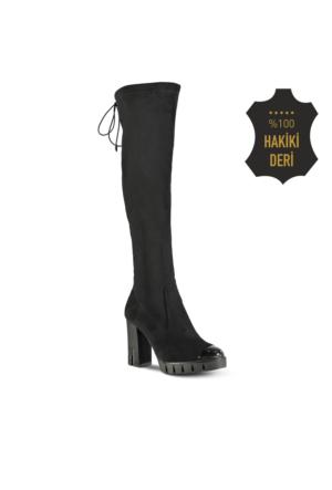Marjin Bistun Platform Topuklu Çizme Siyah Süet