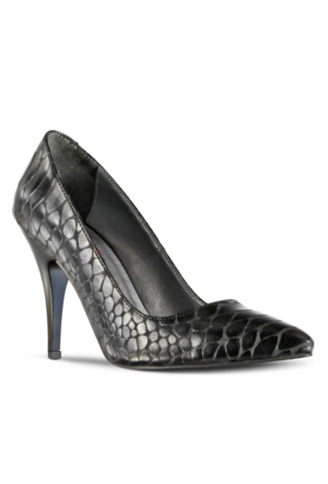 Marjin Kegan Topuklu Ayakkabı Siyah Croco
