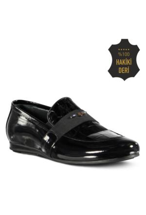 Marjin Sande Düz Erkek Ayakkabı Siyah Rugan