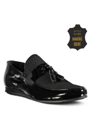 Marjin Esba Düz Erkek Ayakkabı Siyah Rugan