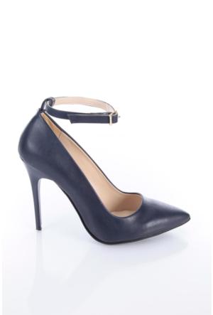 Shoes&Moda 509-1017-1015-Bl Lacivert Cilt Kadın Stiletto Ayakkabı