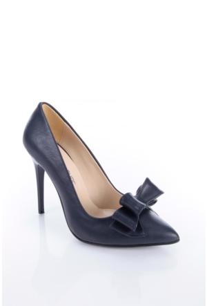 Shoes&Moda 509-1017-1015-Fy Lacivert Cilt Kadın Stiletto Ayakkabı