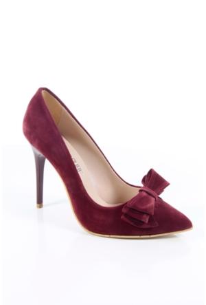 Shoes&Moda 509-1017-1015-Fy Bordo Süet Kadın Stiletto Ayakkabı