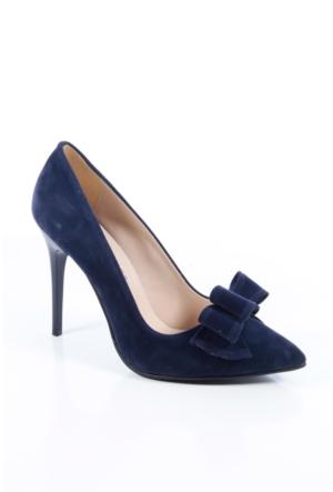Shoes&Moda 509-1017-1015-Fy Lacivert Süet Kadın Stiletto Ayakkabı