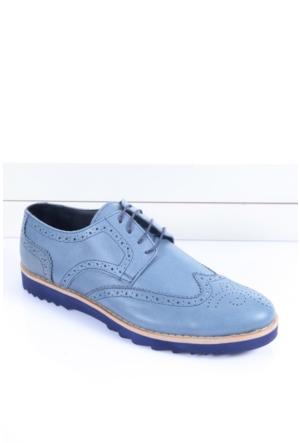 Shoes&Moda 509-1517-1369 Mavi Deri Hakiki Deri Ayakkabı