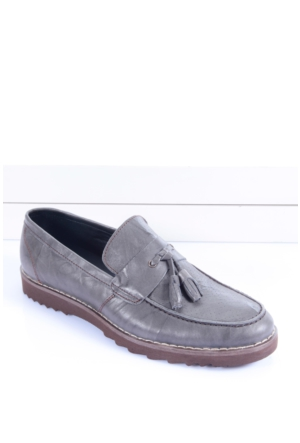 Shoes&Moda 509-1517-1505P Gri Hakiki Deri Ayakkabı