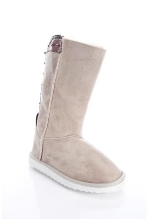 Shoes&Moda 509-5917-1301 Bej Kadın İçi Yünlü Fermuarli Bot
