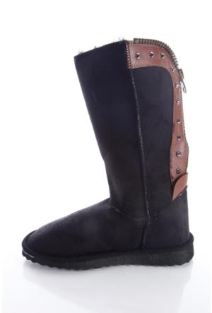 Shoes&Moda 509-5917-1301 Siyah Kadın İçi Yünlü Fermuarli Bot