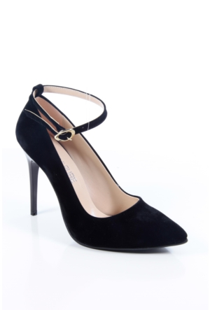 Shoes&Moda 509-1017-1015-Bl Siyah Süet Kadın Stiletto Ayakkabı