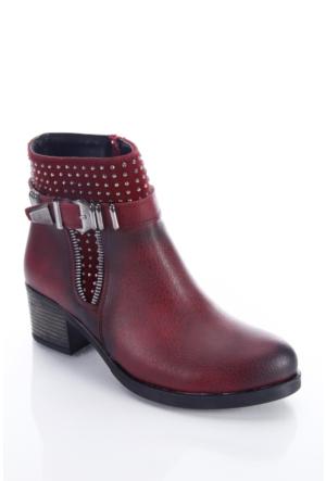 Shoes&Moda 509-6717-0049 Bordo Kadın Bot
