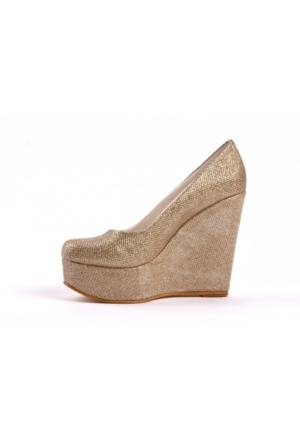 Bonalodi Parlak Altın Dore Dolgu Kadın Ayakkabı